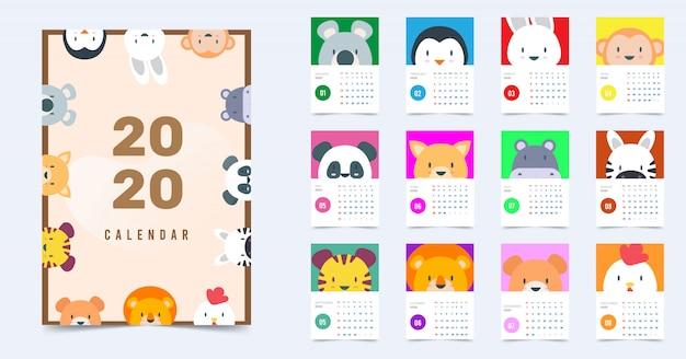 Kalendarz 2020 animal cute