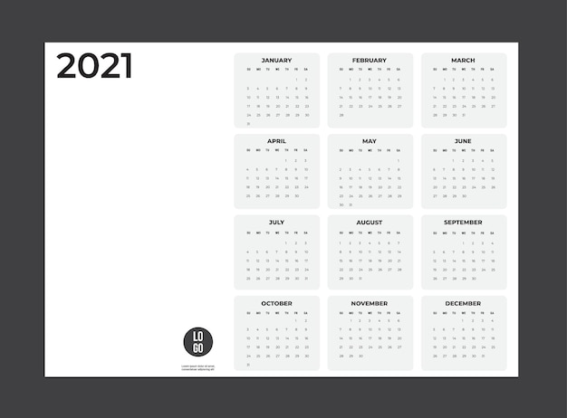 Kalendarz 2020 - ilustracja. szablon. tydzień makiety zaczyna się w niedzielę