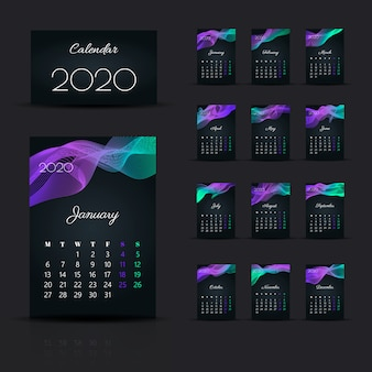 Kalendarz 2020. początek tygodnia niedziela szablon projektu.