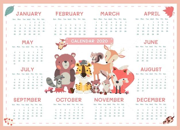 Kalendarz 2020 rozmiar a3 ładny minimalizm zwierząt leśnych rocznie