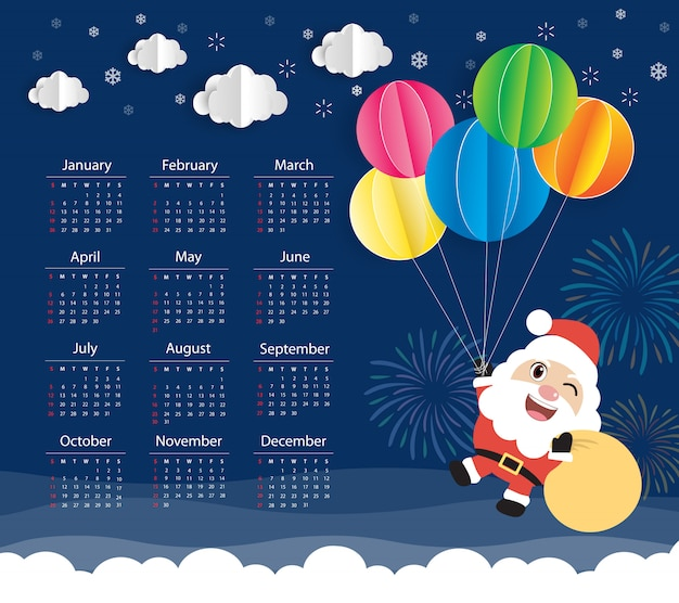 Kalendarz 2020. święty mikołaj i kolorowy balon