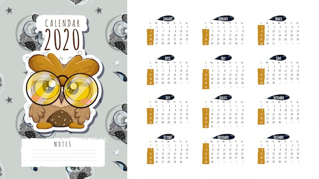 Kalendarz 2020 z ładną sową