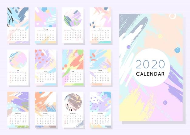 Kalendarz 2020 z ręcznie rysowanymi kształtami i teksturami w delikatnych pastelowych kolorach. edytowalny szablon w modnym minimalistycznym stylu. streszczenie nowoczesny design.