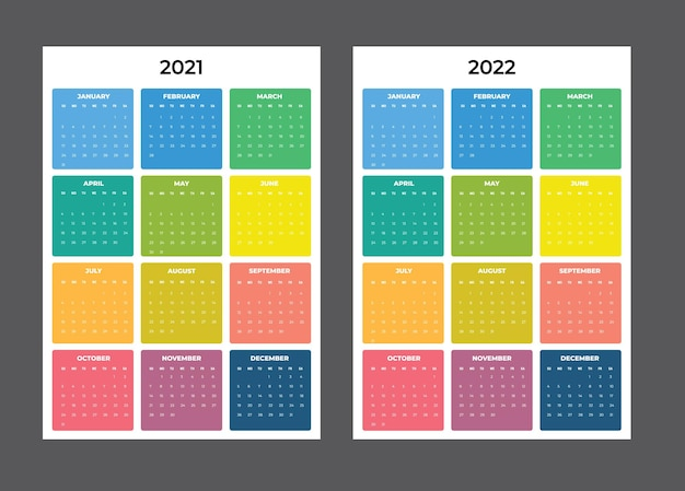 Kalendarz 2021-2020 - ilustracja. szablon. tydzień makiety zaczyna się w niedzielę
