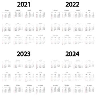 Kalendarz 2021 2022 2023 2024 rok tydzień zaczyna się w niedzielę szablon kalendarza rocznego