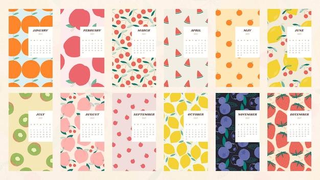Kalendarz 2021 do druku szablon wektora z zestawem ładnych owoców tła