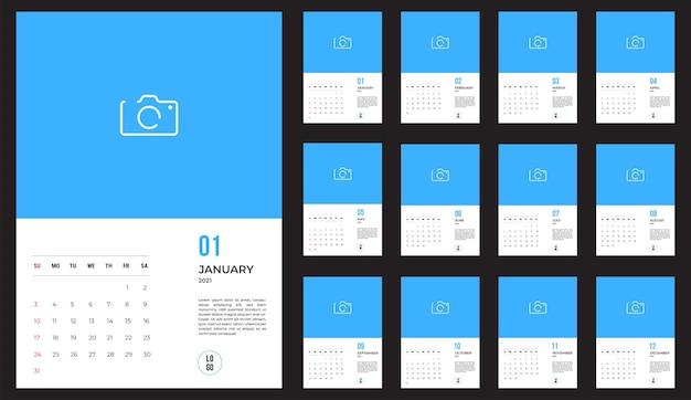 Kalendarz 2021 - ilustracja. szablon. tydzień makiety zaczyna się w niedzielę