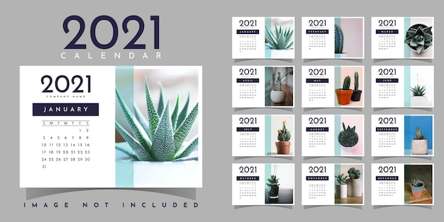 Kalendarz 2021 projekt szablonu ilustracji