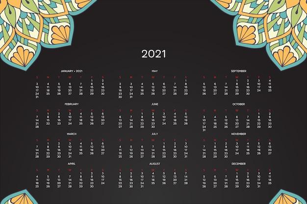Kalendarz 2021 z orientalną mandalą