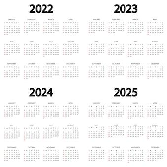Kalendarz 2022 2023 2024 2025 rok tydzień zaczyna się w niedzielę szablon kalendarza rocznego