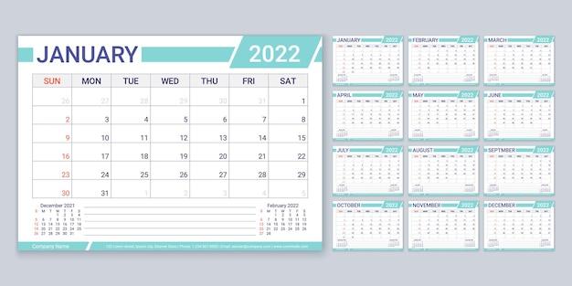Kalendarz 2022 planner szablon kalendarza tydzień zaczyna się w niedzielę coroczny organizator papeterii z 12 miesiącami