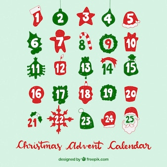 Kalendarz adwentowy bożego narodzenia na turkusowym tle