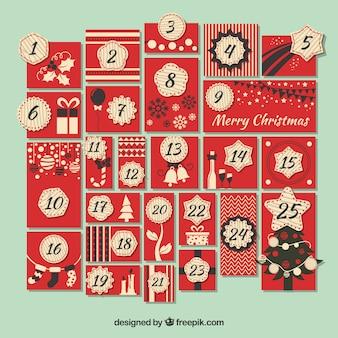 Kalendarz adwentowy czerwony w stylu vintage