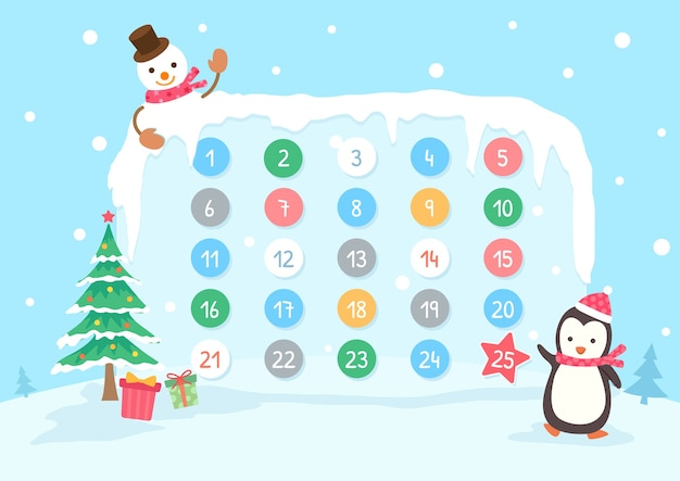 Kalendarz adwentowy na święta bożego narodzenia z pingwinem i bałwanem w tle śniegu