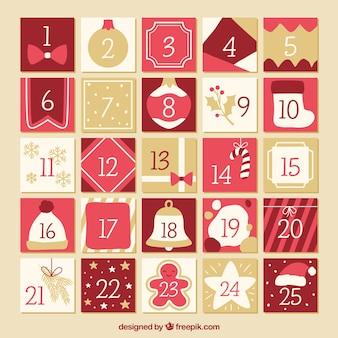 Kalendarz adwentowy płaski w odcieniach czerwieni i beżu