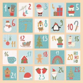 Kalendarz adwentowy. świąteczny plakat. styl losowania liczb xmas