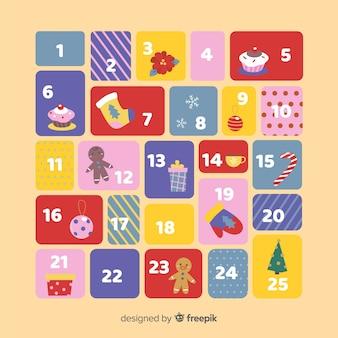 Kalendarz adwentowy świątecznych elementów