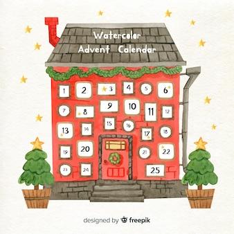 Kalendarz adwentowy w domu akwarela