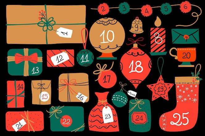 Kalendarz adwentowy w kolorze czerwonym i złotym