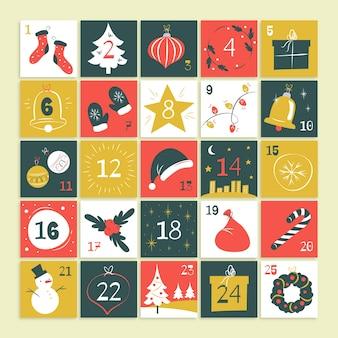 Kalendarz adwentowy w płaskiej konstrukcji