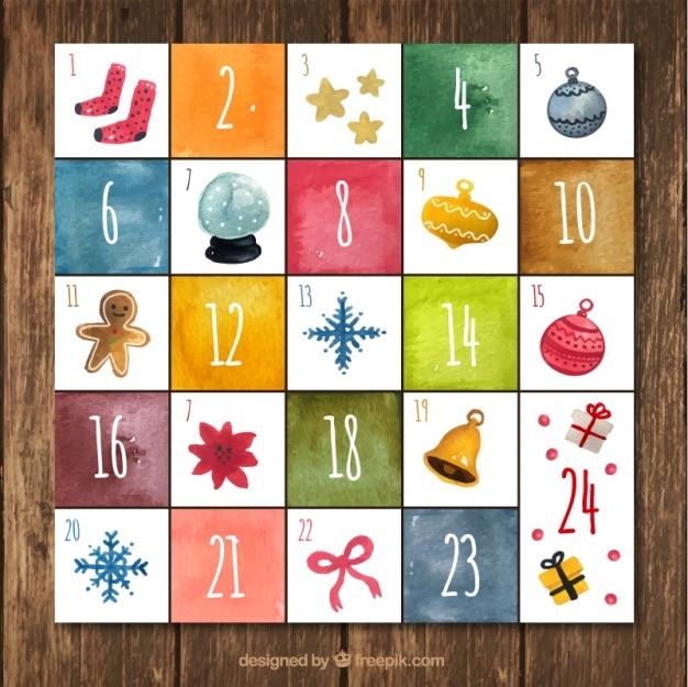 Kalendarz adwentowy z elementami dekoracyjnymi w stylu akwareli