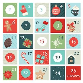 Kalendarz adwentowy z elementami świątecznymi.