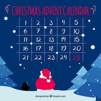 Kalendarz adwentowy z śnieżny krajobraz
