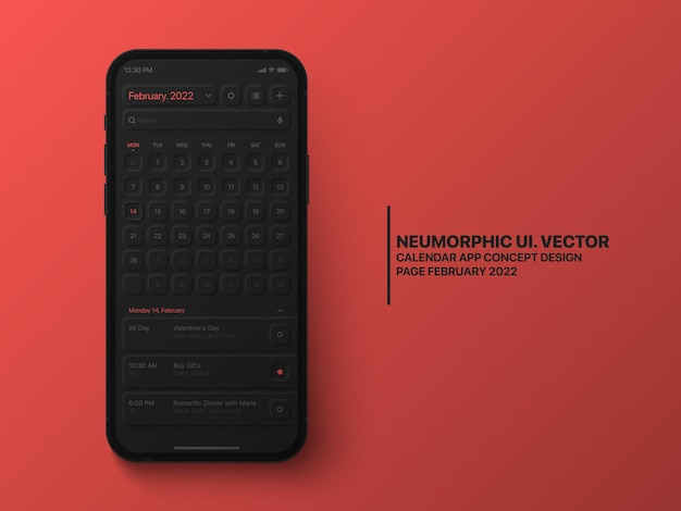 Kalendarz aplikacja mobilna luty 2022 koncepcyjny interfejs użytkownika neumorficzny projekt ciemna wersja