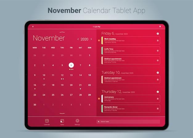 Kalendarz aplikacji na tablet w listopadzie