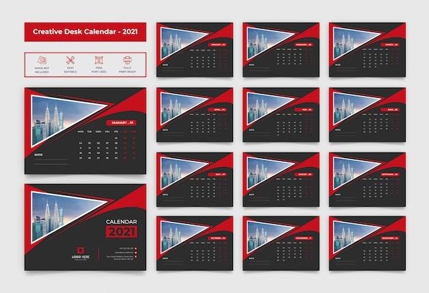 Kalendarz biurkowy 2021 w kolorze czarno-czerwonym