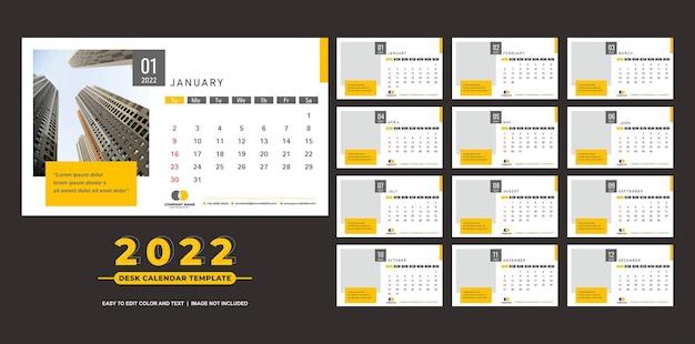 Kalendarz biurkowy 2022 szablon nowoczesny prosty żółty