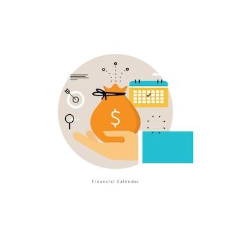 Kalendarz finansowy, planowanie budżetu miesięcznego płaski ilustracji wektorowych projektu. projekt planowania finansowego dla urządzeń mobilnych i internetowych