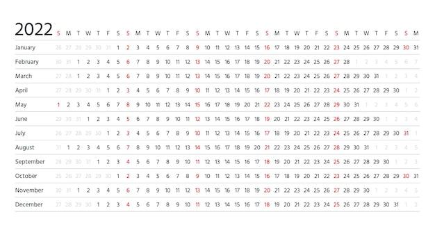 Kalendarz liniowy 2022. planer poziomy na rok. roczny szablon kalendarza. tydzień zaczyna się w niedzielę