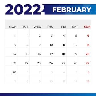 Kalendarz luty 2022
