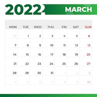 Kalendarz marzec 2022