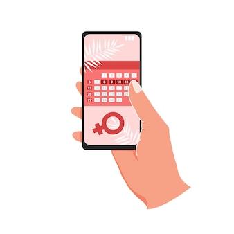 Kalendarz menstruacyjny w telefonie z ekranem na białym tle