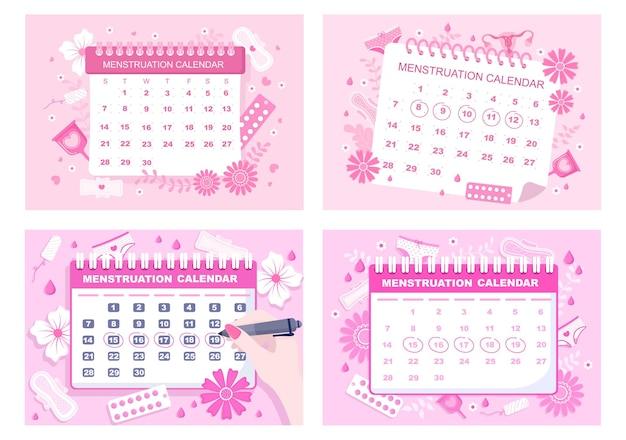 Kalendarz miesiączki kobiety, aby sprawdzić ilustracja cyklu daty