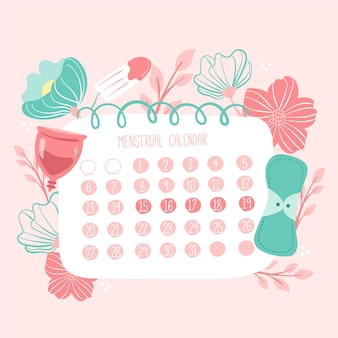 Kalendarz miesiączkowy z ilustrowanymi elementami zdrowia kobiet