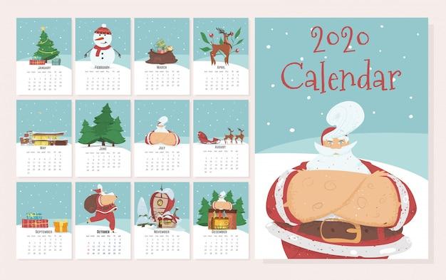 Kalendarz miesięczny 2020 w uroczym ręcznie rysowane stylu