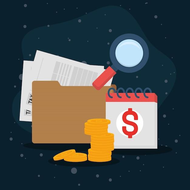 Kalendarz monet dokumentu podatkowego i lupe
