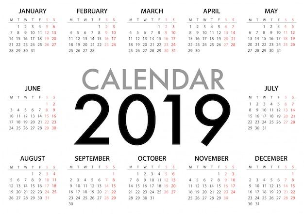 Kalendarz na 2019 tydzień rozpoczyna się w poniedziałek