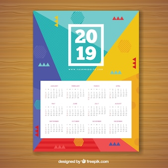 Kalendarz na 2019 w stylu memphis