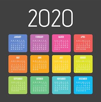 Kalendarz na 2020 rok. tydzień zaczyna się od niedzieli.