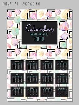 Kalendarz na 2020 rok z kolorowymi geometrycznymi kryształami lub klejnotami, brylantami jubilerskimi i kamieniami szlachetnymi