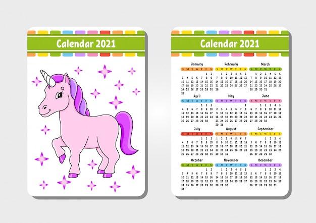 Kalendarz na 2021 r. z uroczą postacią. magiczny jednorożec. kieszonkowy rozmiar.