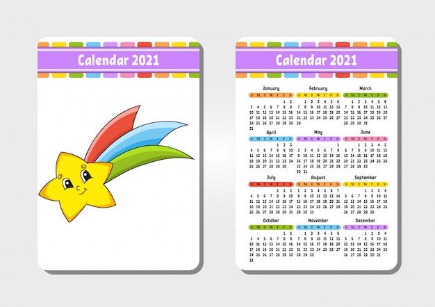Kalendarz na 2021 r. z uroczą postacią. spadająca gwiazda.