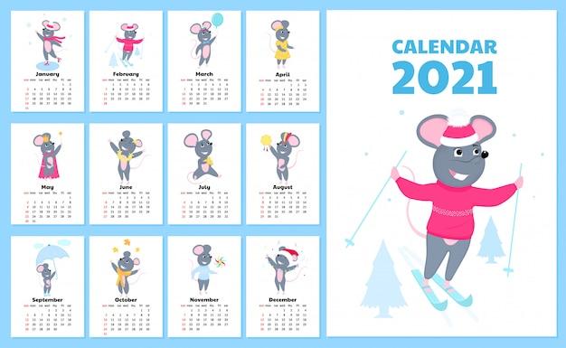 Kalendarz na 2021 rok od niedzieli do soboty. śliczne szczury w różnych kostiumach. postać z kreskówki myszy.
