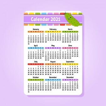 Kalendarz na 2021 rok z uroczą postacią.