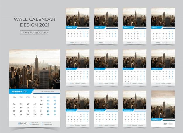 Kalendarz na 2021. tydzień zaczyna się w poniedziałek.
