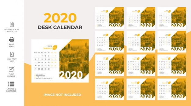 Kalendarz na biurko 2020 premium